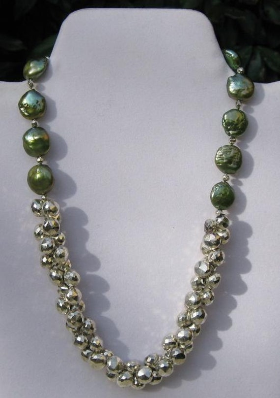 Pearl and White Pyrite Cluster Necklace / Green / Coin