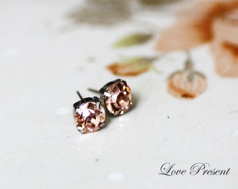 Grand Swarovski Crystal Stud Typical Pierced Earrings - Bridesmaid Gift. Simple Modern Jewelry - Color Light Peach