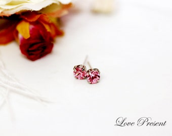 Swarovski Crystal Petite Stud Earrings Post - Minimal Jewelry. Simple Jewelry - Hypoallergenic or Metal post - Choose your post and color