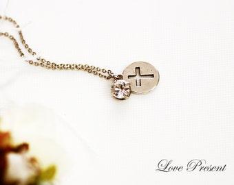LOVE Jesus Necklace with Sparkly Swarovski Crystal - Choose your color