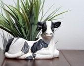 Vintage Home Accessories Design Ceramic Cow Planter Mini Planter Succulent Pot Trinket Holder  , Black and White