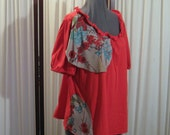 Reconstructed Recycled EcoFriendly Ladies' Plus Size Top 1X Red SS cotton with Asian Oriental Ethnic embellishments