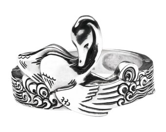 Large Silver Cuff Bracelet - Sterling Silver Bird Bracelet - Sterling Silver Bracelet