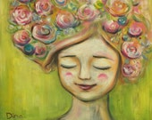 Reserved for Hillary Whimsical Folk painting / Girl with flowers in her hair. Original acrylic painting. Folk art by Dina Argov