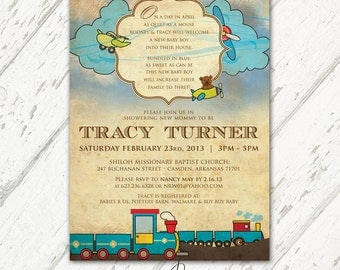 Blue and Brown, Baby Boy Vintage Trains, Planes & Teddy Bears Themed Baby Shower Invitations