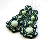 jeans and pistachio -  soutache earrings  free shipping