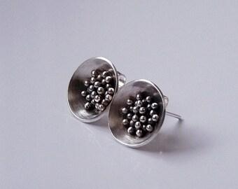 Sterling silver post earrings. Sterling silver studs. Silver earrings. Silver jewellery. Granulated earrings. Handmade. MADE TO ORDER.