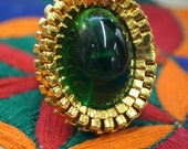 1960's William de Lillo Green Cocktail Ring