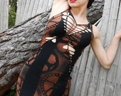 Zombie Goth Industrial Post Apocalyptic Shredded Woven Slashed Mini Bodycon Dress