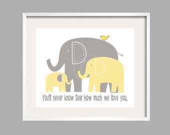 Baby Gift, Eli's Elephant Art Print You Are My Sunshine Nursery Decor Poster in yellow and gray by YassisPlace, baby shower gift