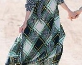Groovy plaid navy blue and yellow dress. Groovy dress yellow blue green