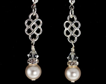 Silver Knot Swarovski Earrings