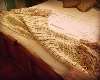Rustic Winter Beige Lace Afghan, Tan Blanket, Knit Throw Beige Home Decor