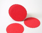 """50 Red Scalloped Circles punch die cut scrapbook embellishments - 1"""" circles - No672"""