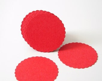 "50 Red Scalloped Circles punch die cut scrapbook embellishments - 1"" circles - No672"