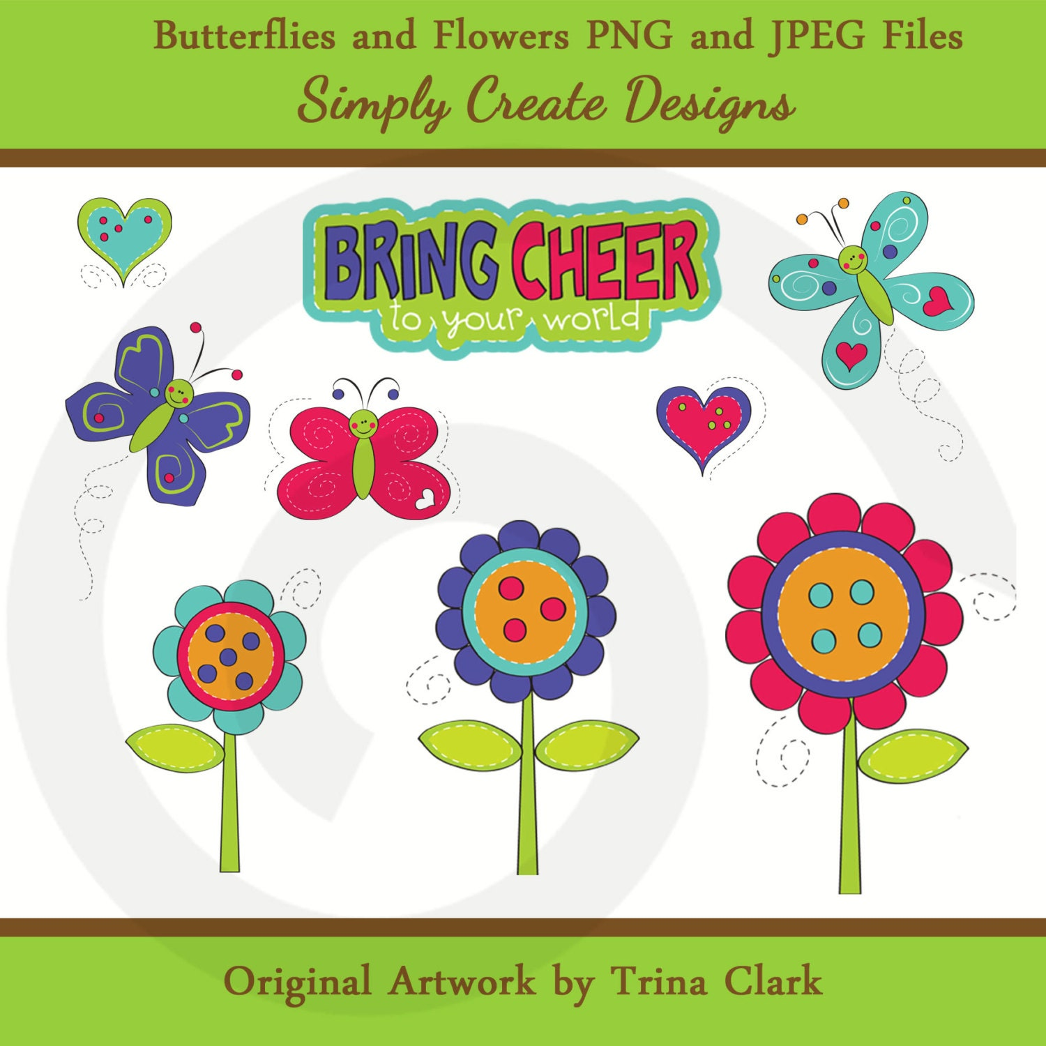 March Clipart Butterflies clipart flowers