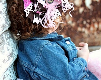 Baby Bows, Toddler Bows, Girls Hair Bows, Boutique Bows, Hair Clip, Brown Pink Horse Bandanna Over the Top Boutique Hair Bow, 6 Inch Bow
