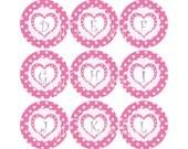 Valentine Bottlecap Image Sheet Pink White Polka Dot Pink Heart Fun Purple Monogram Initial Bottlecap Alpha Initials Set