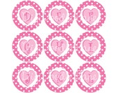 Valentine Bottlecap Initial Alphabet Set Image Sheet Pink Conversation Hearts Monogram Initial 1 Inch Circles Collage Sheet INSTANT DOWNLOAD