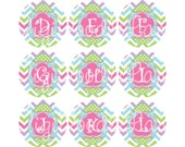 Easter Egg Chevron Alpha Set 1 Inch Circles Collage Sheet INSTANT DOWNLOAD 4 x 6 Inch JPG Bottlecaps Hairbows Jewelry Easter Bottlecap