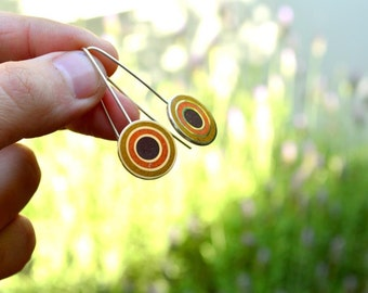 Sterling Silver Earrings, Mustard, Orange, Chocolate, Colorful, Circles, Modern, Contemporary