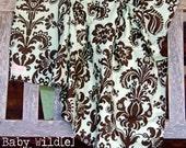 "Stroller Blanket Minky Baby Boy or Girl Green Brown Damask Celedon - 32""x38"" - Sweet Baby"