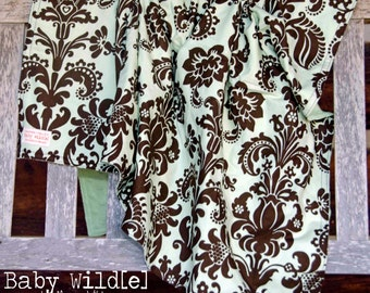 "Stroller Blanket Minky Baby Boy or Girl Green Brown Damask Celedon - 32""x38"" - Sweet Baby"