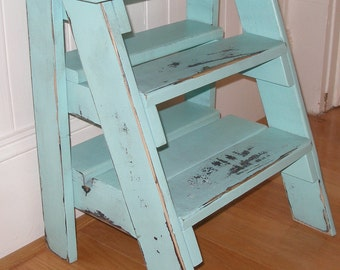 Step ladder, stool, turquoise distressed, gift idea