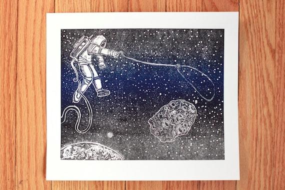 Asteroid Retrieval - Linocut print