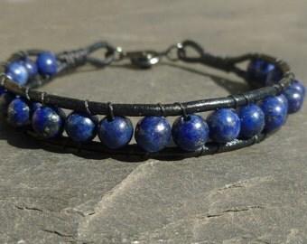 Men's Lapis Lazuli Round Bead Leather  Bracelet for  Men or Women  - Choose your length