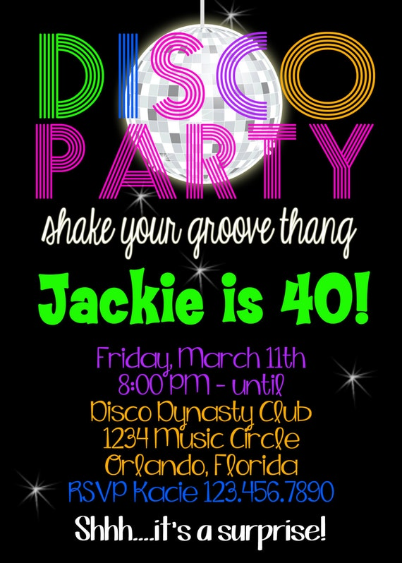 Disco Party Birthday 5x7 Invitation Printable By Party So
