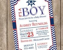 Chevron nautical baby shower invitation, red, blue, nautical, printable invitation
