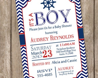 Chevron nautical baby shower invitation, red, blue, nautical, printable invitation