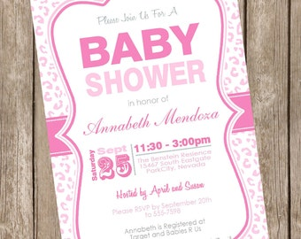 Pink leopard girl baby shower invitation, leopard, pastel, typography, leopard invitation, printable invitation