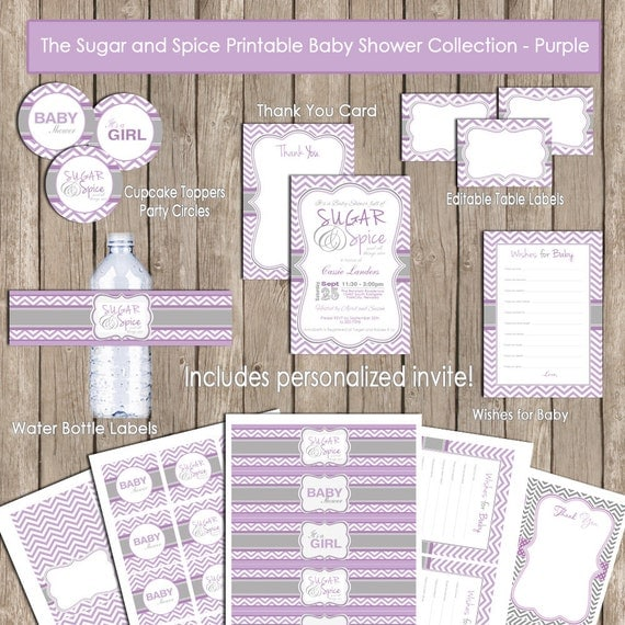Sugar And Spice Baby Shower: Sugar And Spice Baby Shower Invitation Package Purple Gray