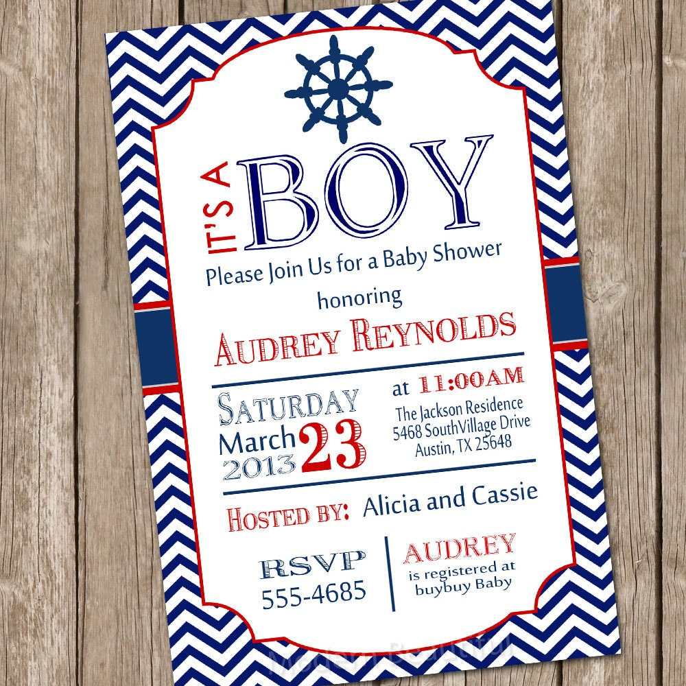 chevron nautical baby shower invitation red blue nautical  etsy, Baby shower