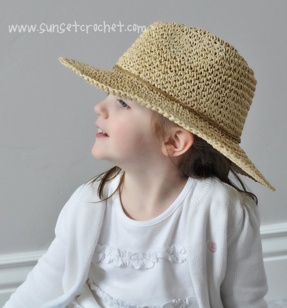 Free Pattern Crochet Wide Brim Hat : Wide Brimmed Summer Sunhat Straw Hat Crochet Pattern 269
