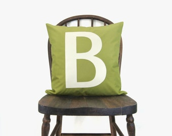 SALE || B Monogram Outdoor Pillow Cover | 16x16 inches / Decorative Monogrammed Pillow | Initial Letter Appliqued Cushion in Green & White