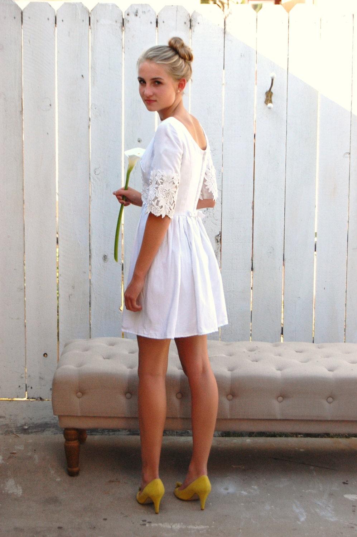 Vintage 60 S White Linen And Lace Short Mod Wedding Dress