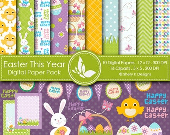 Easter This Year Paper Pack - 10 printable Digital Scrapbooking papers  - 16 Cliparts - 12 x12 - 300 DPI