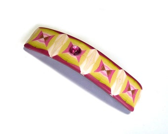 Polymer clay Hair Barrette, French clip, polymer clay hair pin, Hair accessories, geometric fashion accessory , girls hair barrette