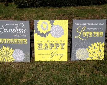 You Are My Sunshine Wall Art Flower Nursery Canvas Art Print Children Wall Art Grey Yellow
