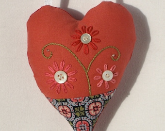 Coral red  heart ornament with buttons and embroidery