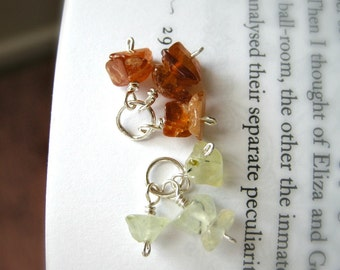 SPROUT and BUD Cluster Dangle Set - Prehnite and Hessonite Garnet / Nature Spring Gardener Jewelry, Earthy Gemstone