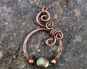 Wire Wrapped Pendant, With Peacock Green Coin Pearl and Copper.