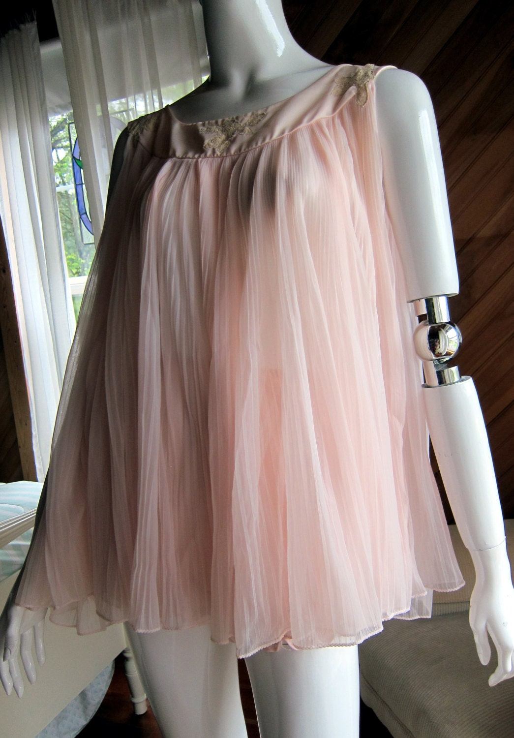 1960s Pink Baby Doll Nightie With Bloomers