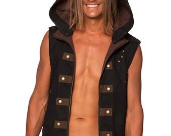 Men's Festival Space Vest w Detachable Hood & Side Lacing - Steampunk, Festival Clothing