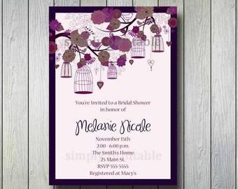 Purple Bridal Shower Invitation with Vintage