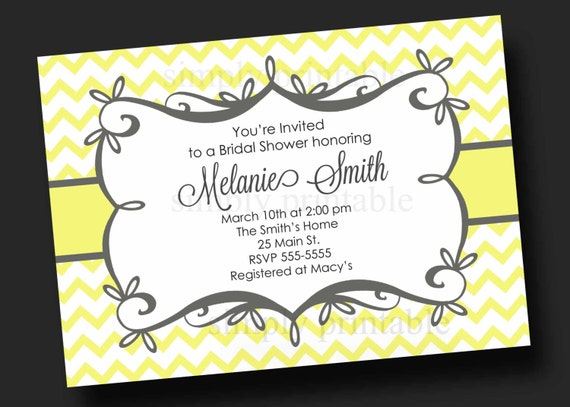 Yellow Gray Chevron Bridal Shower Invitation
