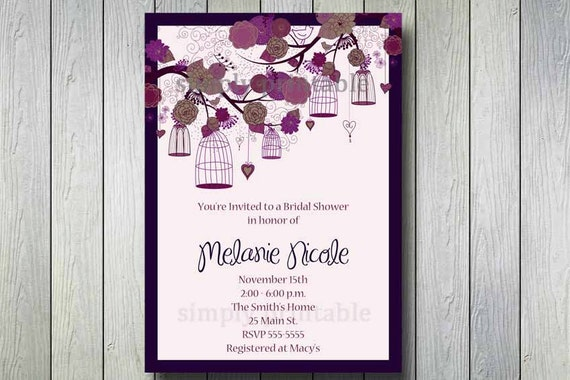 Purple Bridal Shower Invitation with Vintage